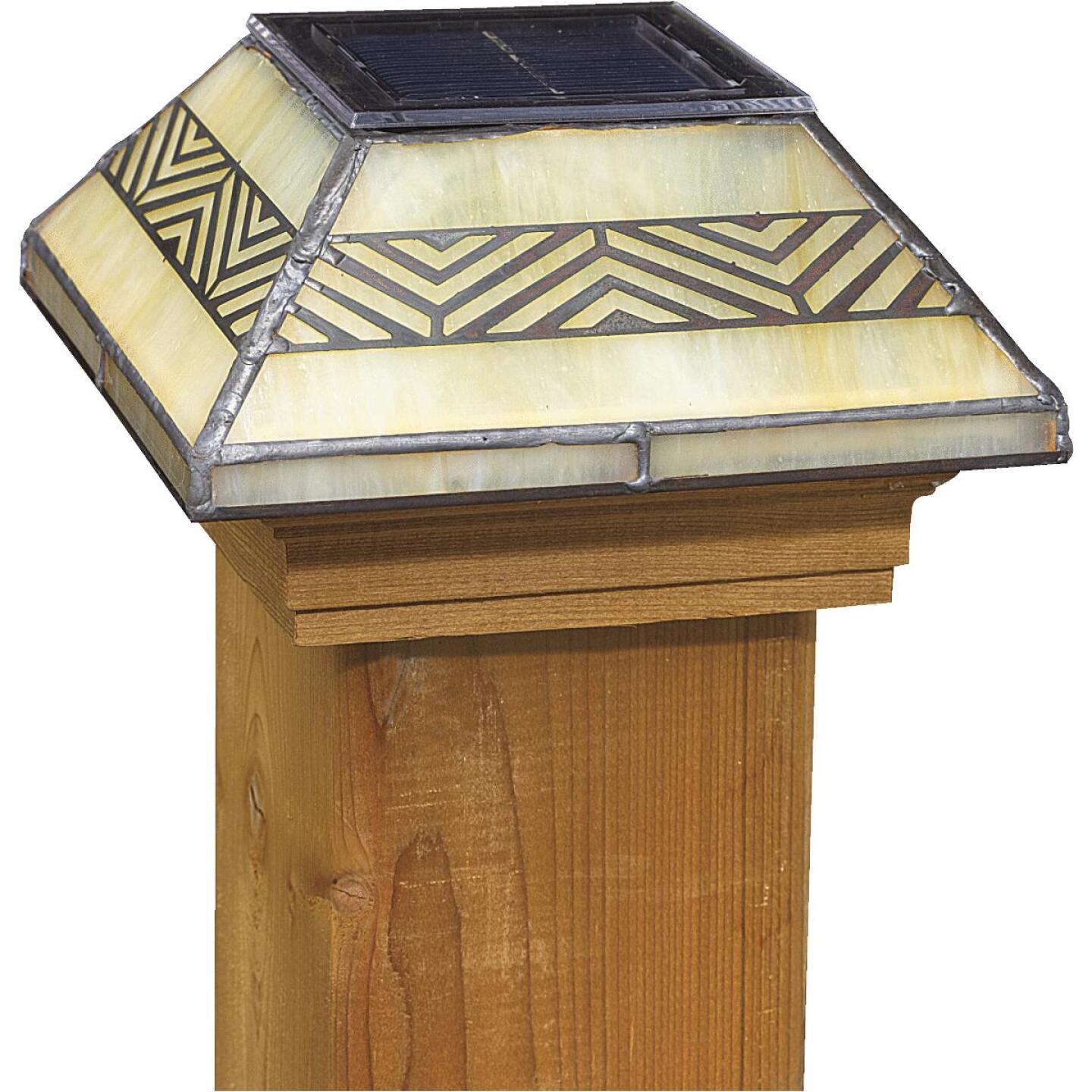 Deckorators 4 In. x 4 In. Frosted Glass Filigreed Solar Post Cap Image 1