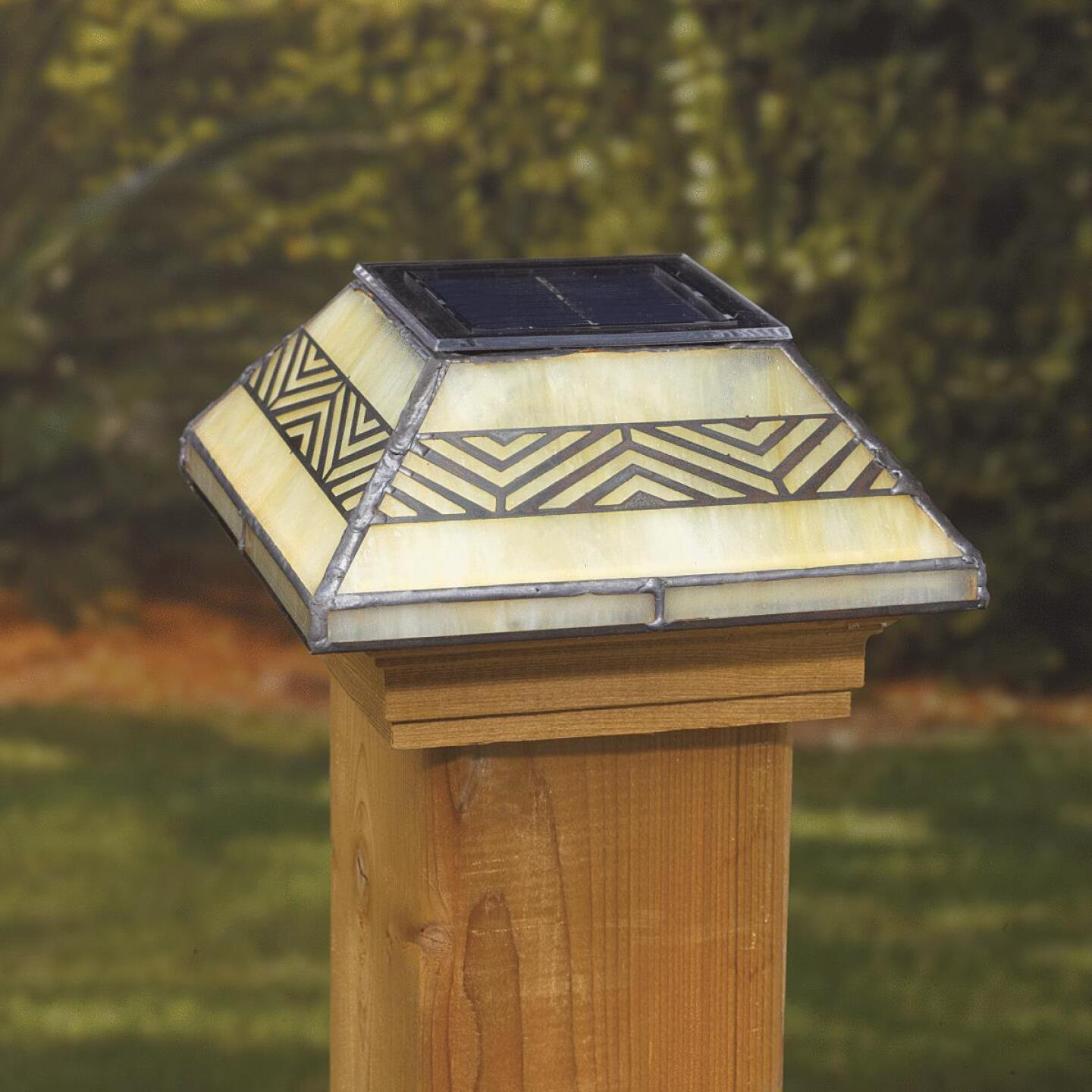Deckorators 4 In. x 4 In. Frosted Glass Filigreed Solar Post Cap Image 2