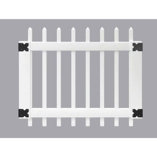 Outdoor Essentials 41-1/2 In. W. x 3 Ft. H. Spaced White Vinyl Picket Gate