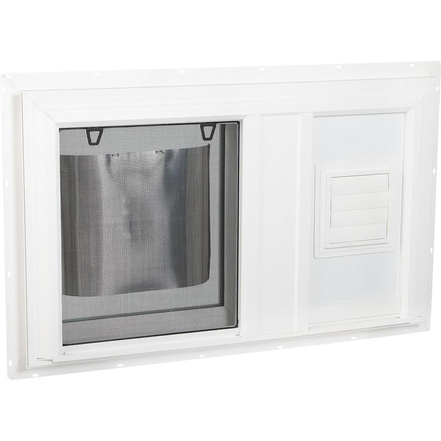 Interstate Model 5100 32 In. W. x 19 In. H. White Vinyl South Glass Pack Hopper Basement Window with Dryer Vent Image 1