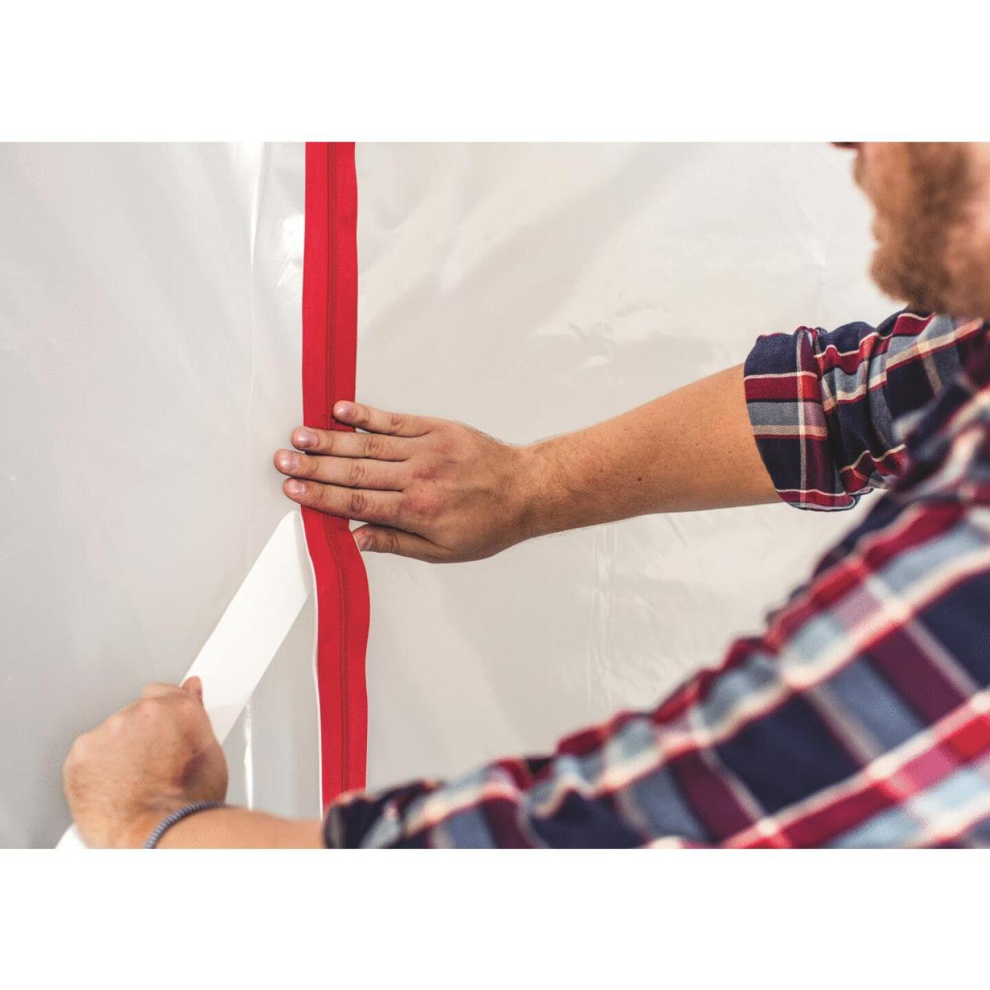 Surface Shields Zip N Close 1 1/2 In. X 7 Ft. Red Peel and Stick Plastic Barrier Zipper (2-Pack) Image 3