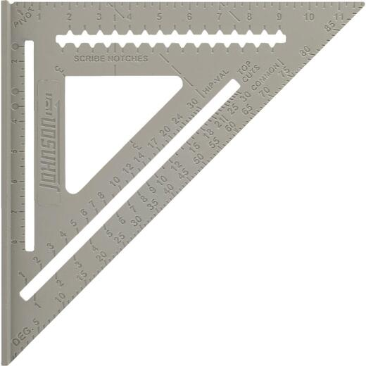 Johnson Level 12 In. Aluminum Rafter Square with Instruction Manual & Rafter Tables