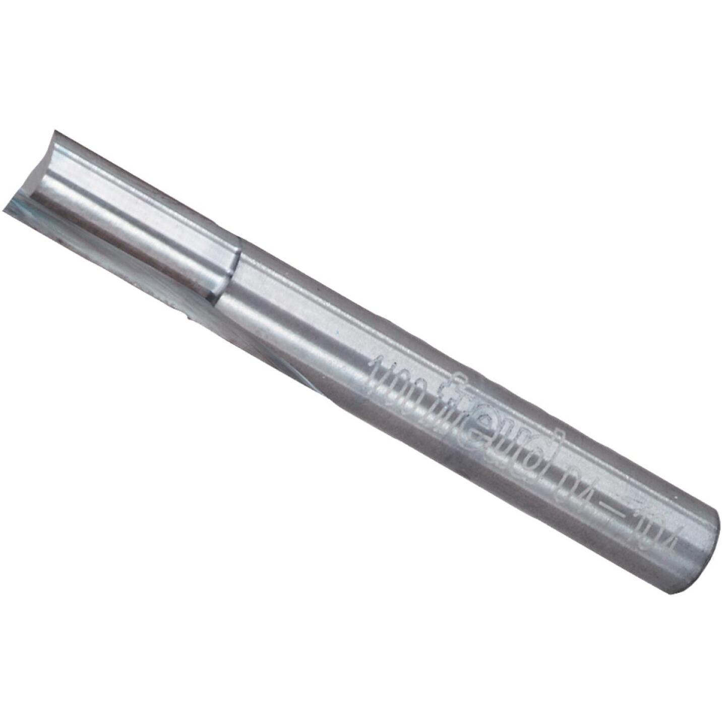 Freud Carbide Tip 1/4 In. Double Flute Straight Bit Image 1