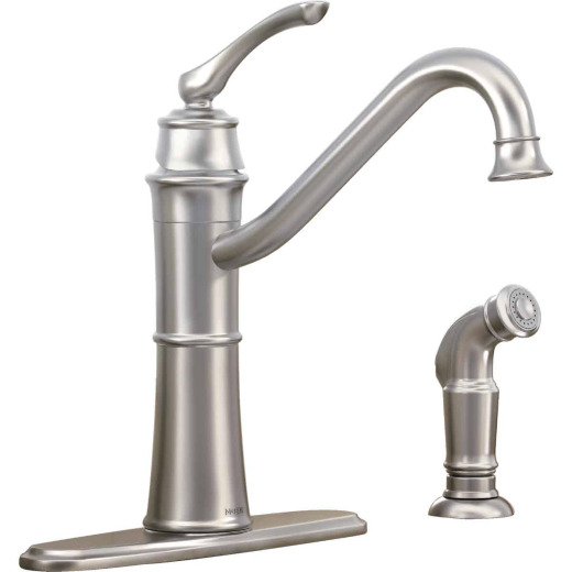 Moen Wetherly Single Handle Lever Kitchen Faucet with Side Spray, Stainless