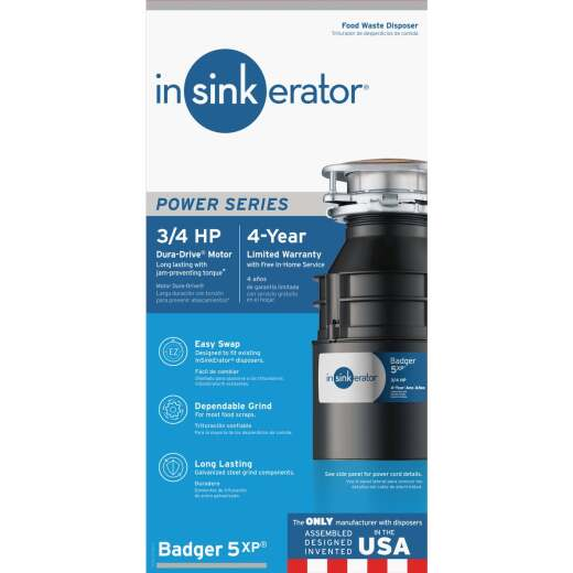 Insinkerator Badger 5XP 3/4 HP Dura-Drive Garbage Disposer, 4 Year Warranty