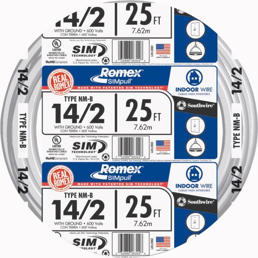 Romex 25 Ft. 14-2 Solid White NMW/G Wire