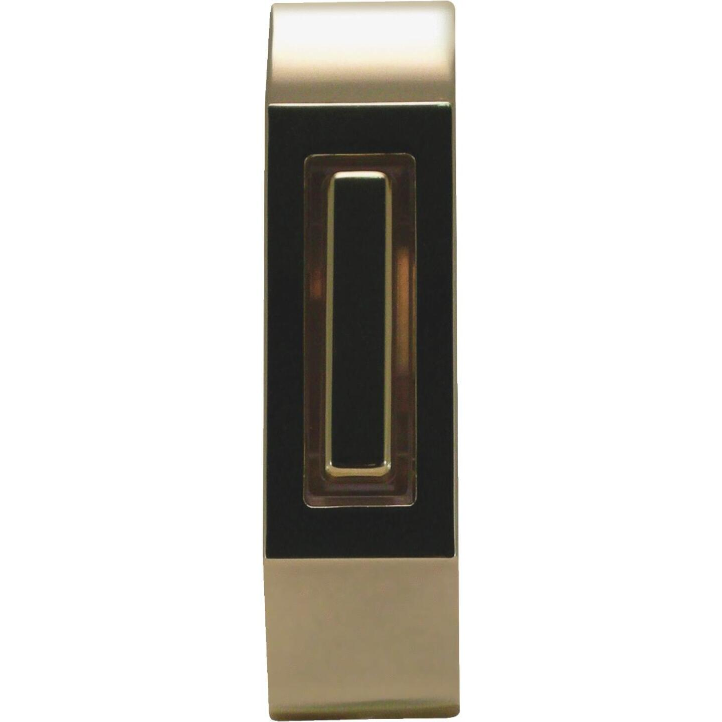 IQ America Wired Polished Brass & Brown Lighted Doorbell Button Image 1