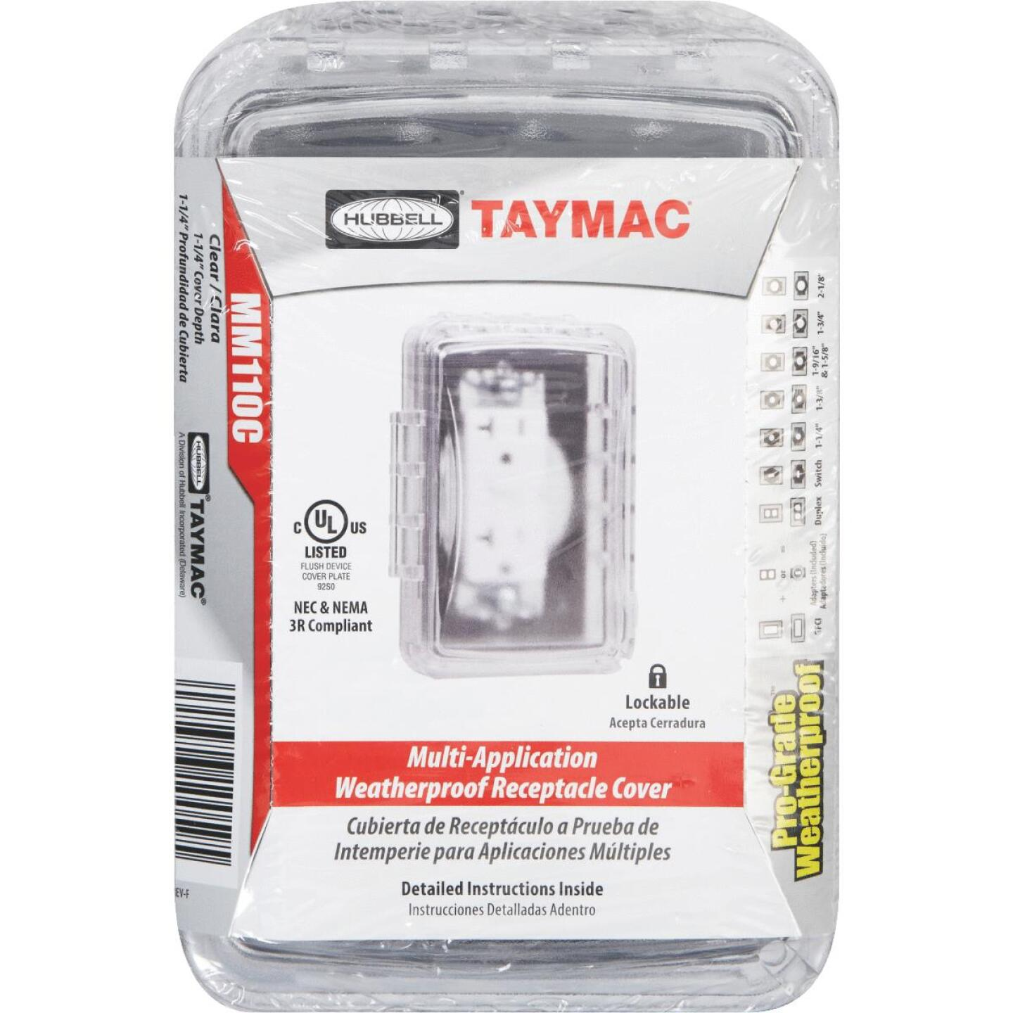 TayMac Single Gang Retangular Polycarbonate Clear Weatherproof Outdoor Box Flip Cover Image 2