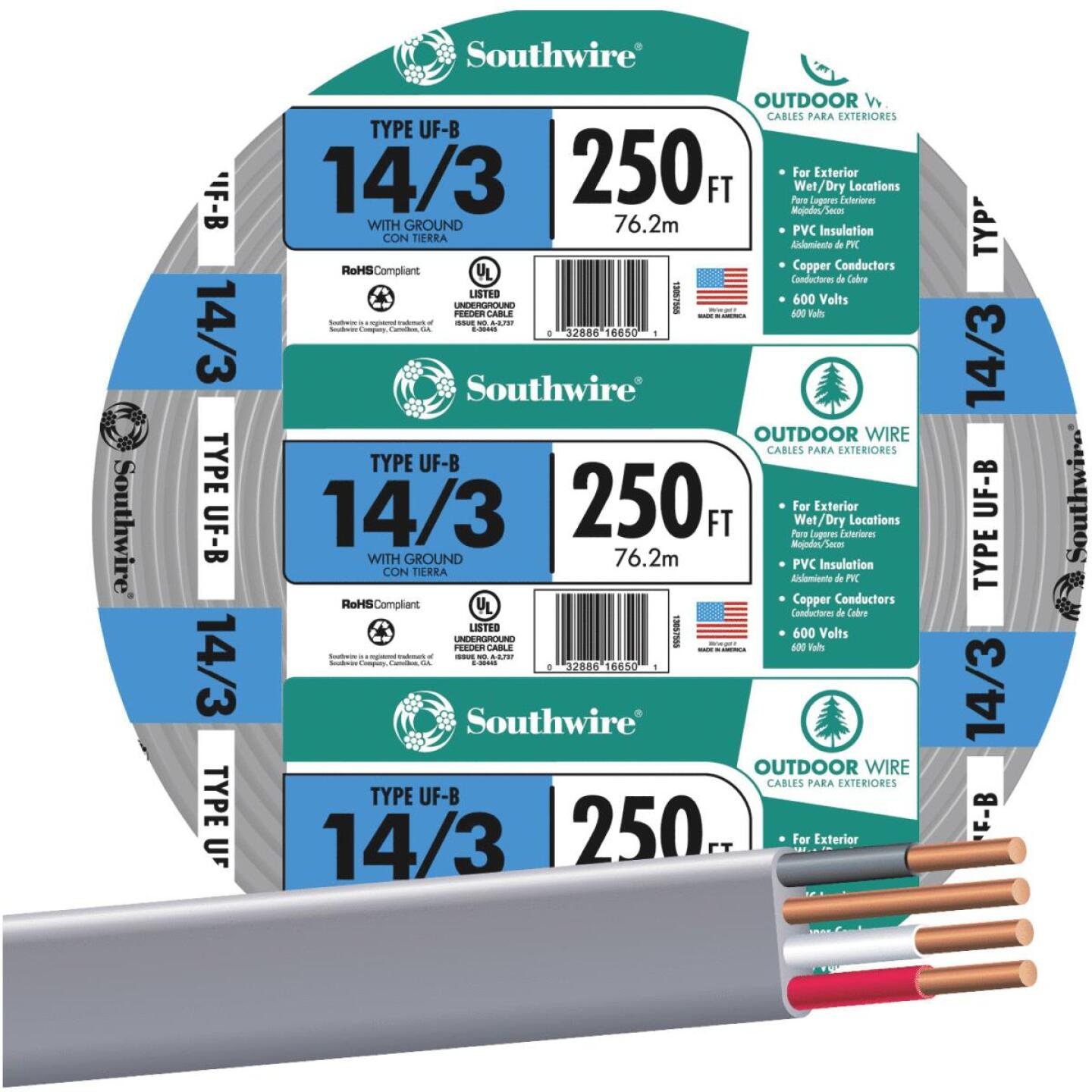 Southwire 250 Ft. 14 AWG 3-Conductor UFW/G Wire Image 1
