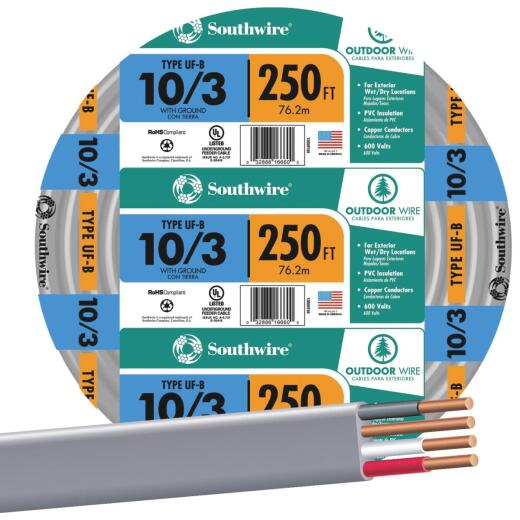 Southwire 250 Ft. 10 AWG 3-Conductor UFW/G Wire