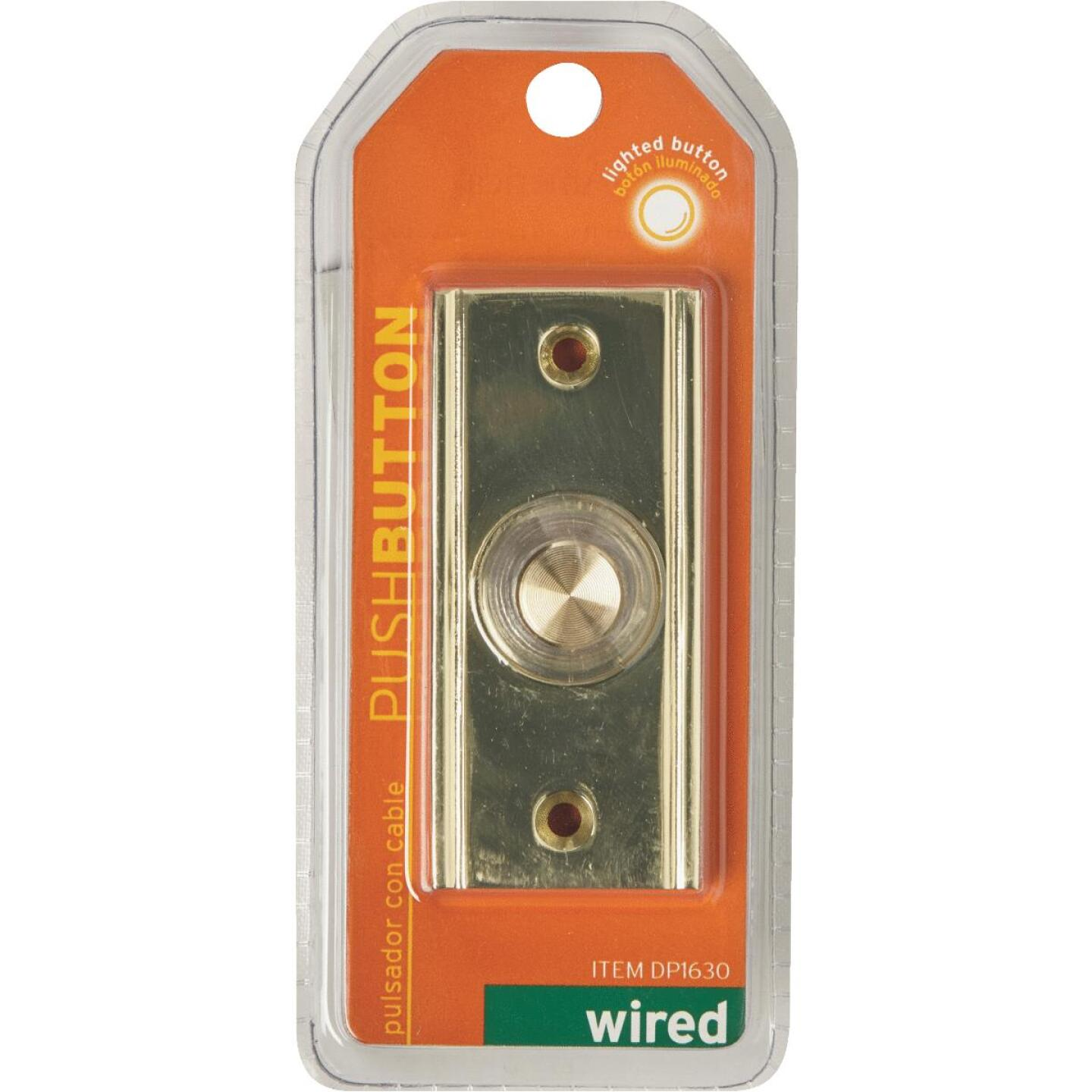 IQ America Wired Polished Brass Lighted Doorbell Push-Button Image 2