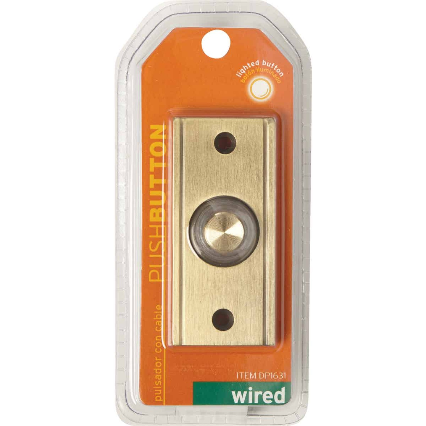 IQ America Wired Antique Brass Lighted Doorbell Push-Button Image 2