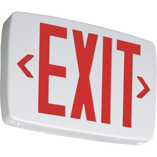 Lithonia Quantum Red Lettering Thermoplastic LED Exit Light with Battery