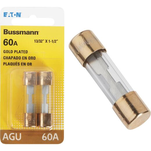 Bussmann 60-Amp AGU Glass Tube Automotive Fuse with Gold-Plated End Caps (2-Pack)