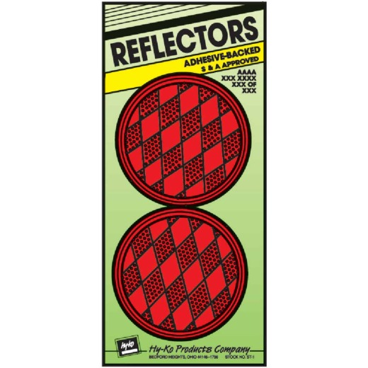 Hy-Ko 3-1/4 In. Dia. Round Red Press-On Reflector (2-Pack)