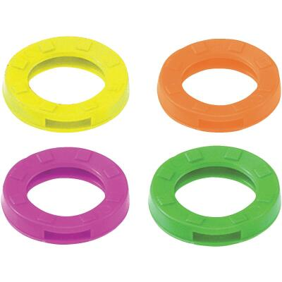 Lucky Line Vinyl Large Size Key Identifier Ring, Assorted Neon Colors (3-Pack)