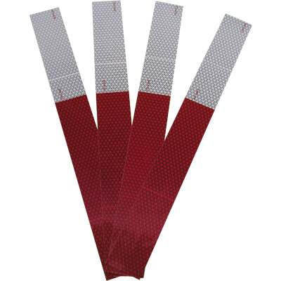 Peterson 2 In. W. x 18 In. L. Red & White Striped Reflective Tape (4-Pack)