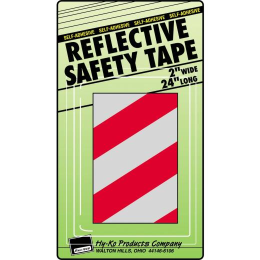 Hy-Ko 2 In. W. x 24 In. L. Red & Silver Stripe Reflective Safety Tape