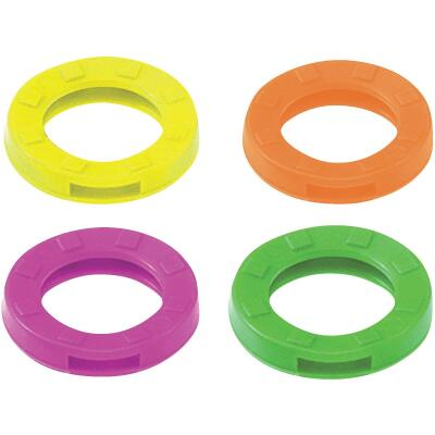Lucky Line Vinyl Medium Size Key Identifier Ring, Assorted Neon Colors (200-Pack)