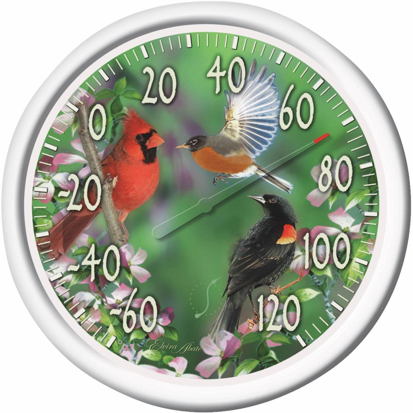 "Taylor 13-1/4"" Dia Plastic Dial Birds Indoor & Outdoor Thermometer Image 1"