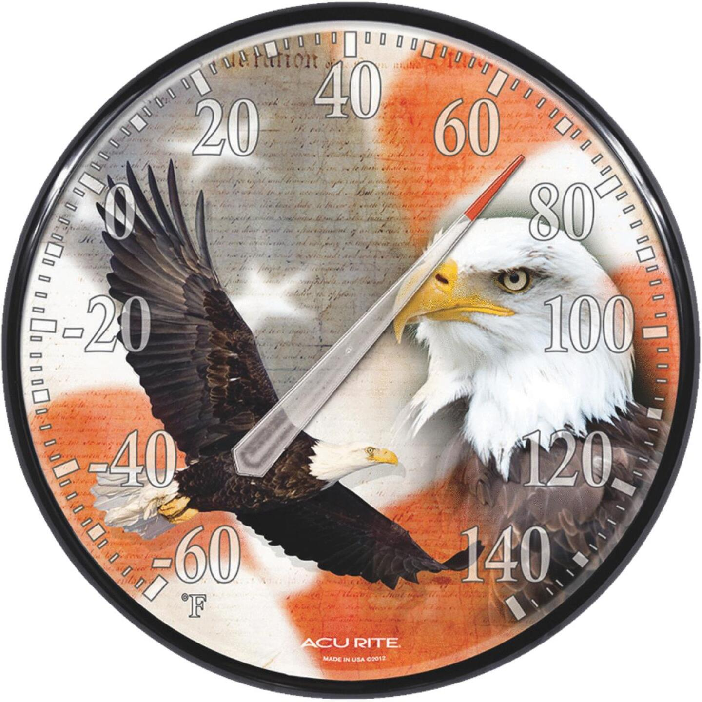 """Acurite 12.5"""" Dia Plastic Dial Eagle/Flag Indoor & Outdoor Thermometer Image 1"""