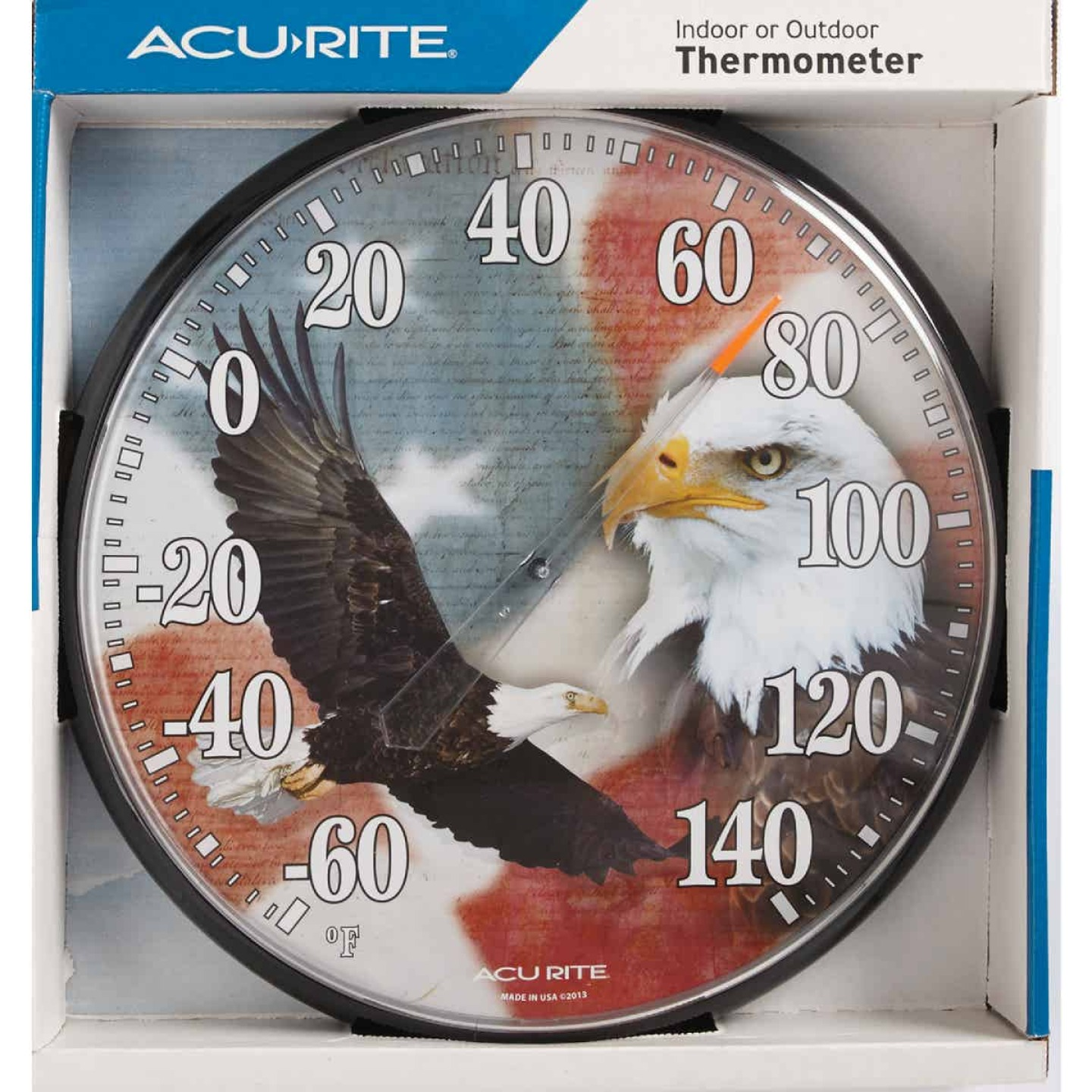 """Acurite 12.5"""" Dia Plastic Dial Eagle/Flag Indoor & Outdoor Thermometer Image 2"""