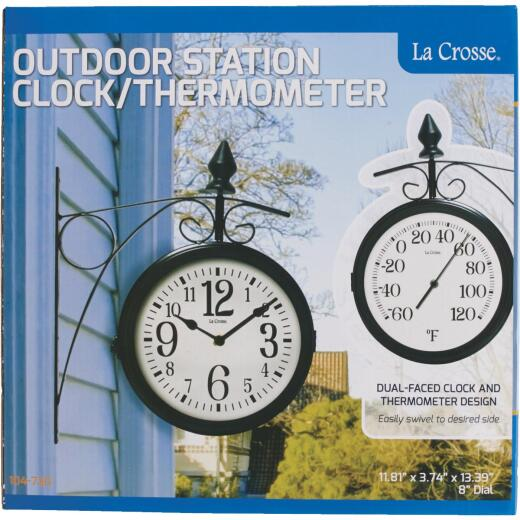 """La Crosse Technology 8"""" Metal Outdoor Clock Thermometer"""