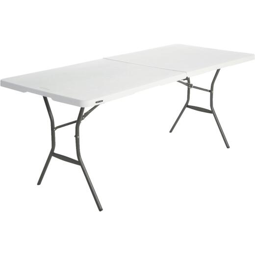 Lifetime Essential 6 Ft. x 30 In. White Granite Fold-In-Half Table