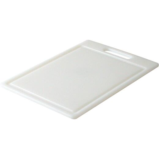 Grande Epicure 10 In. x 14 In. White Polyethylene Cutting Board with Juice Well