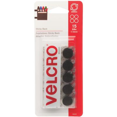 VELCRO Brand 5/8 In. Black Hook & Loop Discs (15 Ct.)