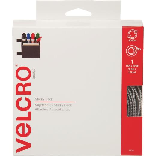VELCRO Brand 3/4 In. x 15 Ft. White Sticky Back Reclosable Hook & Loop Roll