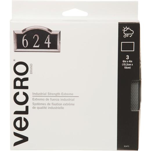 VELCRO Brand Industrial Strength Extreme Black 4 In. x 6 In. Adhesive Hook & Loop Strip (3 Ct.)