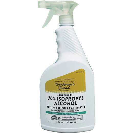 Workman's Friend 70% Isopropyl Rubbing Alcohol & Antibacterial Cleanser, 1 Qt.