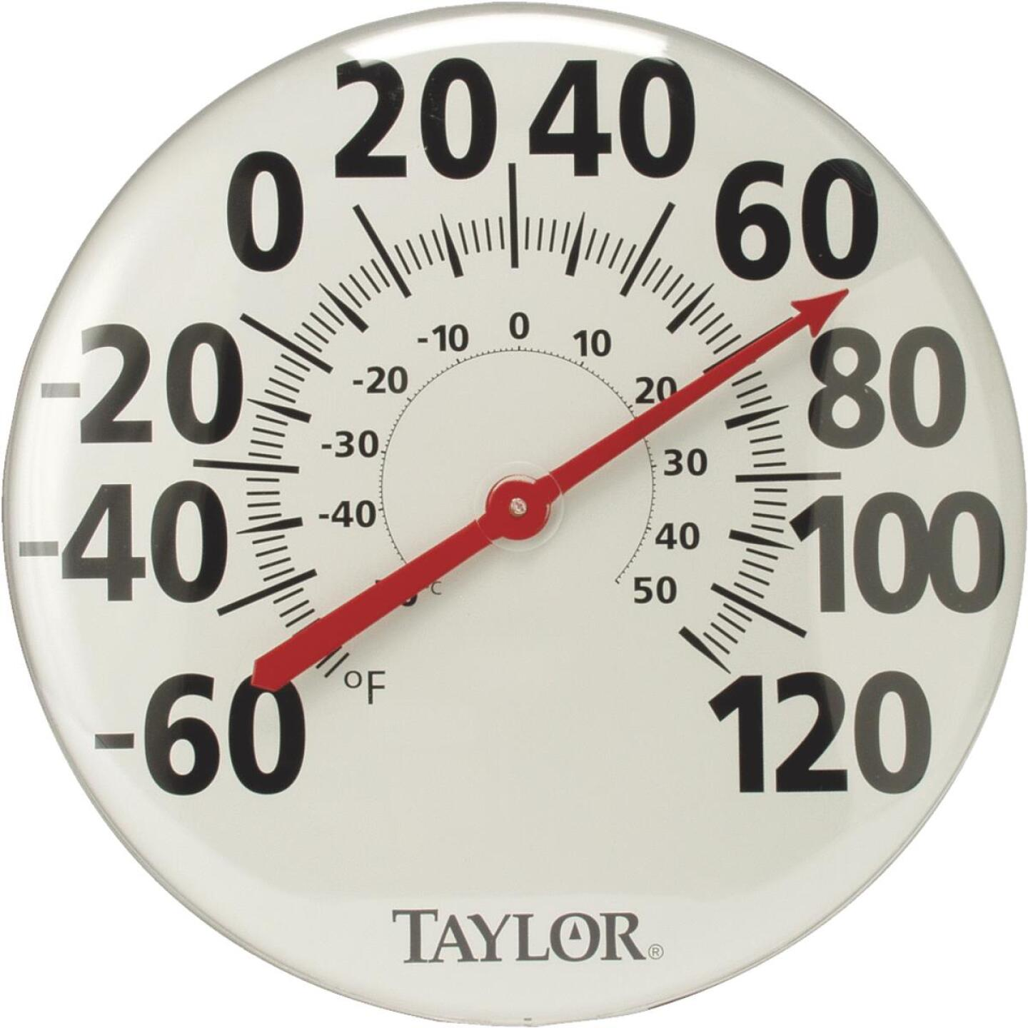 "Taylor 18"" Fahrenheit and Celsius -60 To 120 F, -50 To 50 C Outdoor Wall Thermometer Image 1"
