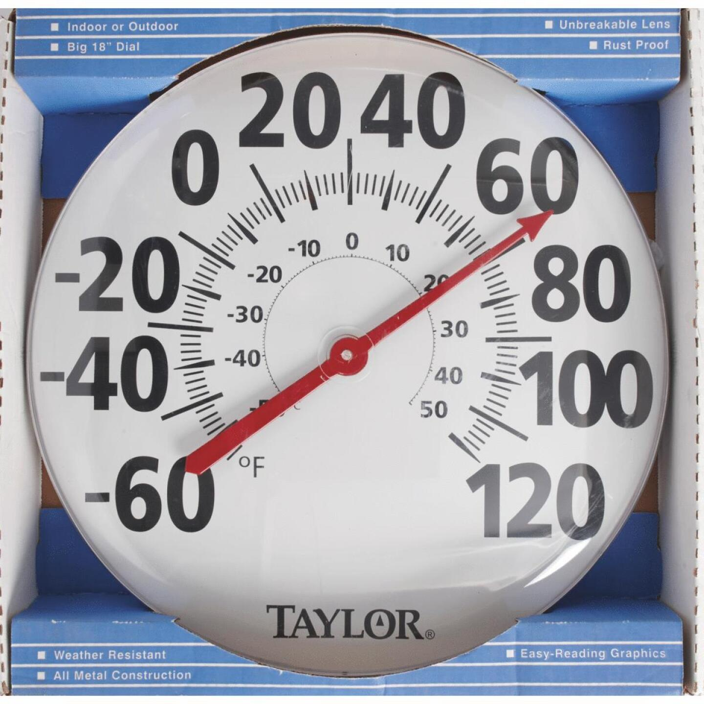 "Taylor 18"" Fahrenheit and Celsius -60 To 120 F, -50 To 50 C Outdoor Wall Thermometer Image 2"