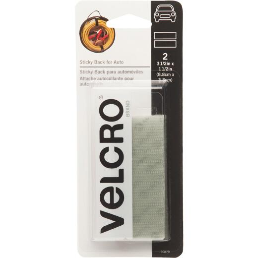 VELCRO Brand 1-1/2 In. x 3-1/2 In. White Sticky Back For Auto Hook & Loop Strip (2 Ct.)