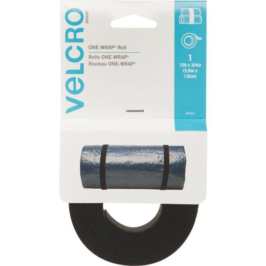 VELCRO Brand One-Wrap 3/4 In. x 12 Ft. Black Multi-Use Hook & Loop Roll