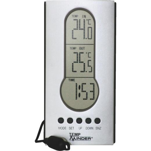 """Minder Research Temp Minder 4"""" W x 7-1/2"""" H Plastic Wired Indoor & Outdoor Thermometer"""