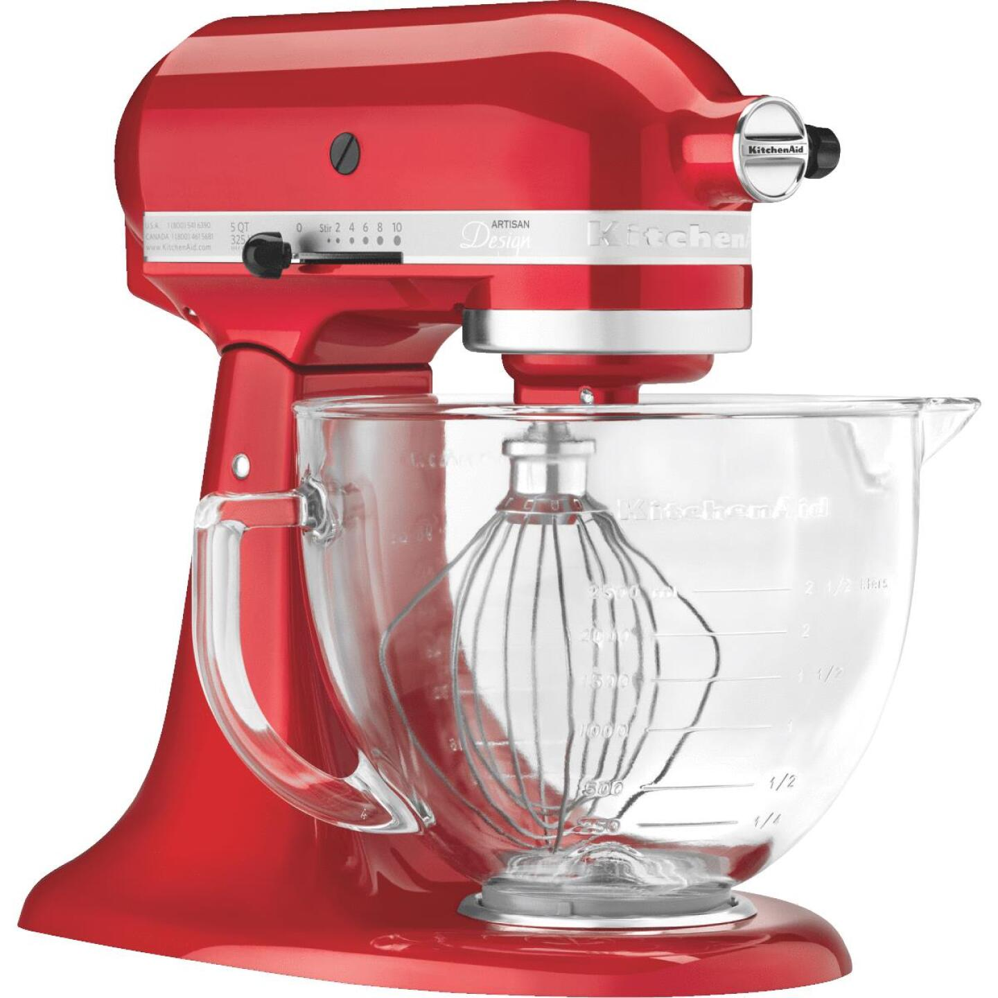 KitchenAid Artisan Series 10-Speed Red Stand Mixer With Glass Bowl Image 1