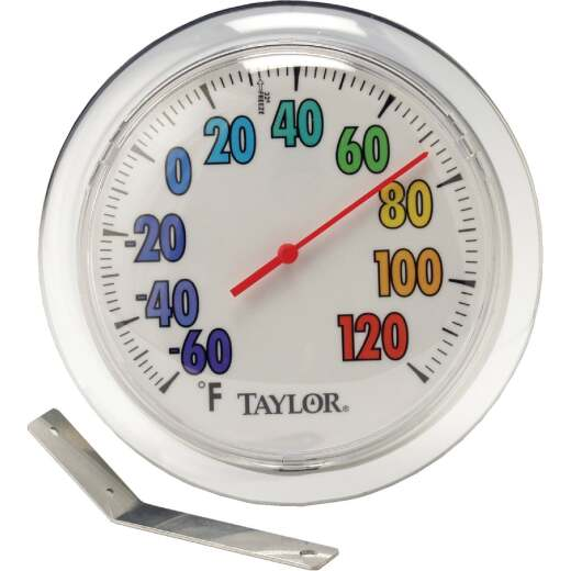 "Taylor 6"" Fahrenheit -60 To 120 Outdoor Wall Thermometer with Bracket"