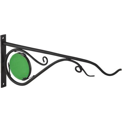 Panacea 15 In. Black w/Green Stained Glass Forged Metal Decorative Hanging Plant Bracket