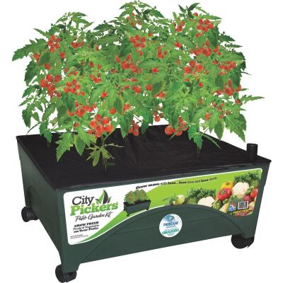 City Pickers 24 In. W. x 20 In. H. x 24 In. L. Green Resin Patio Garden System