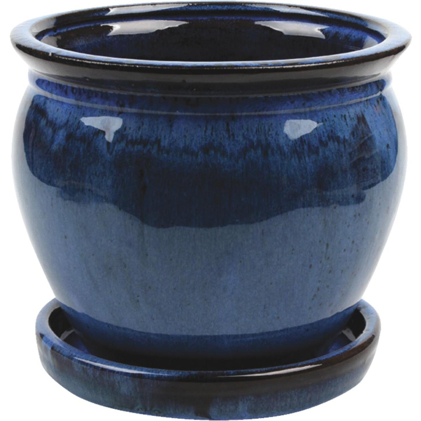 Southern Patio Wisteria 6 In. Dia. x 5.3 In. H. Dripping Blue Clay Planter Image 1