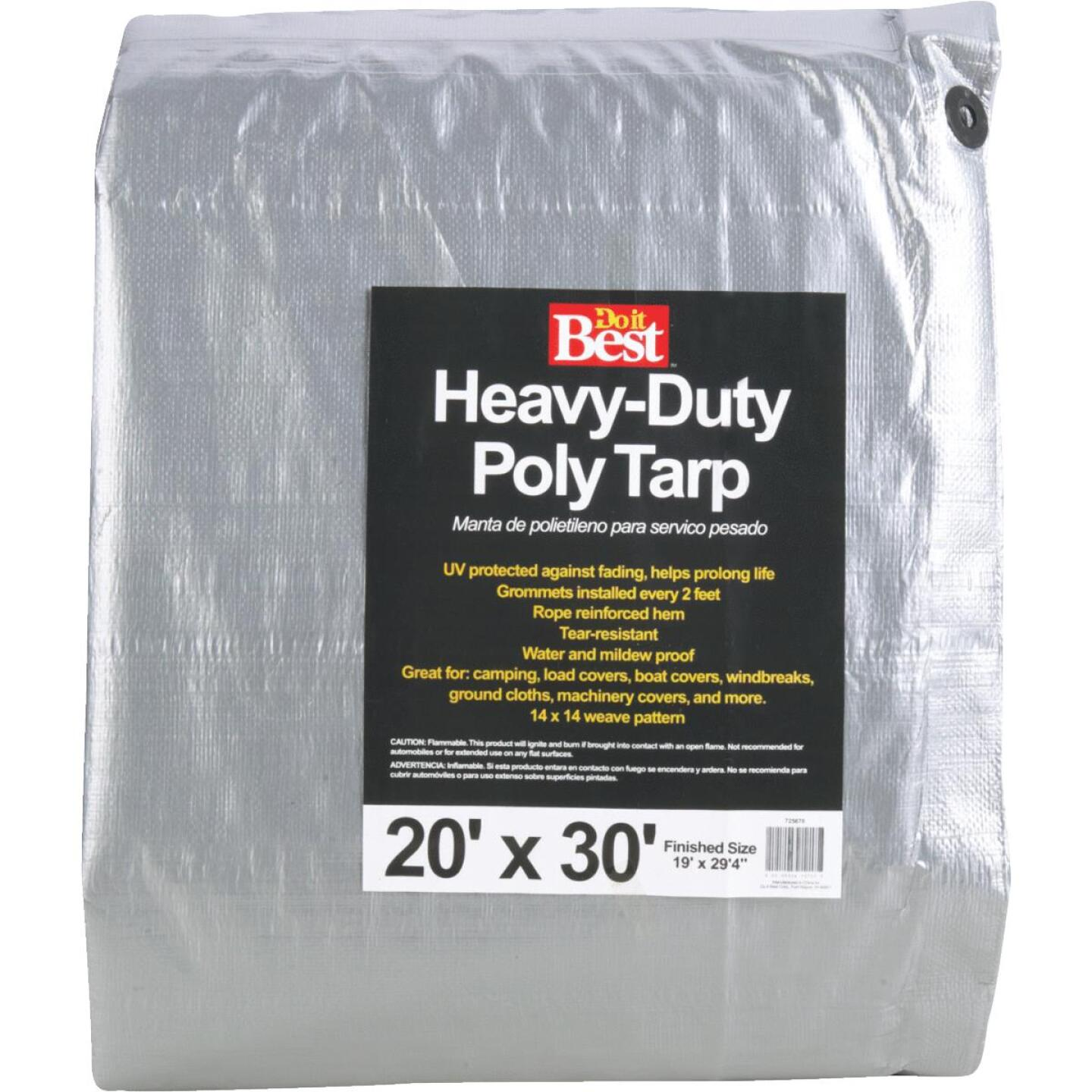 Do it Best Silver Woven 20 Ft. x 30 Ft. Heavy Duty Poly Tarp Image 1
