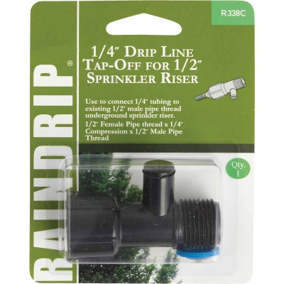 Raindrip 1/2 In. Female Pipe Thread x 1/4 In. Barb x 1/2 In. Male Pipe Thread Drip Line Tap-Off Sprinkler-To-Drip-Adapter