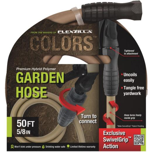 Flexzilla Colors 5/8 In. Dia. x 50 Ft. L. Drinking Water Safe Garden Hose with SwivelGrip Connections