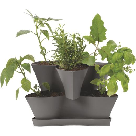 Bloem Collins 16 In. x 10.4 In. Charcoal 2-Level Planter