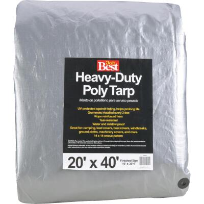 Do it Best Silver Woven 20 Ft. x 40 Ft. Heavy Duty Poly Tarp