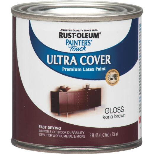 Rust-Oleum Painter's Touch 2X Ultra Cover Premium Latex Paint, Kona Brown, 1/2 Pt.