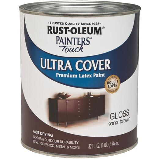 Rust-Oleum Painter's Touch 2X Ultra Cover Premium Latex Paint, Kona Brown, 1 Qt.